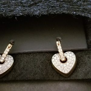Swarovoski Earrings,  detachable heart rose gold